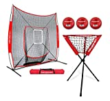 PowerNet DLX Baseball Softball 7x7 Practice Net Bundle w/Strike Zone, Ball Caddy + 3 Training Balls