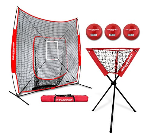 PowerNet DLX Baseball Softball 7x7 Practice Net Bundle w/Strike Zone, Ball Caddy + 3 Training Balls by PowerNet