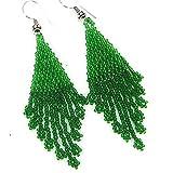 La Vivia Green Seed Beads Indian Style Handmade Earrings E-17-SB-37