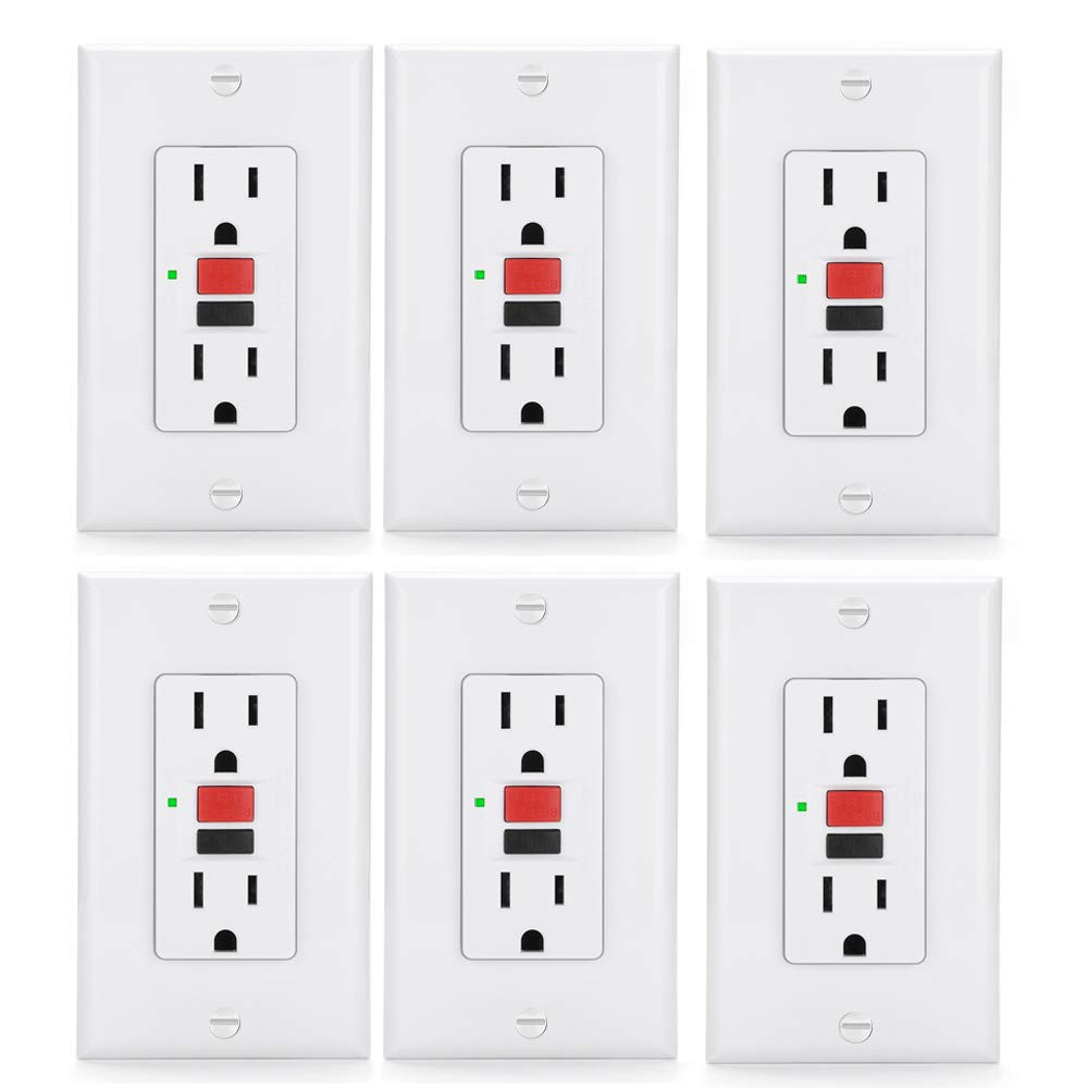 [6 Pack] BESTTEN 15-Amp GFCI Outlets, Slim Series GFI Duplex Receptacles with Decorator Wall Plates, Ground Fault Circuit Interrupter with LED Indicator, UL Listed, White, USG5