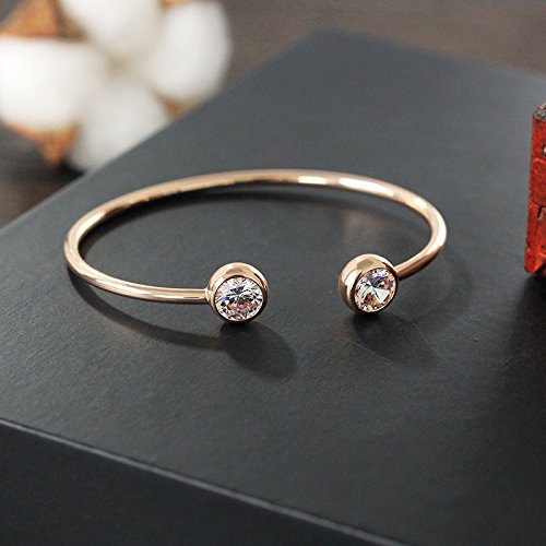Sterling Silver Plated &18K Gold Plated Double CZ Round Balls Cuff Open Adjustable Bracelet,60MM (Gold) by FL BEAUTY (Image #3)