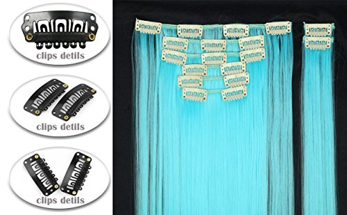 Hairpieces Clip in Synthetic Hair Extensions Japanese Kanekalon Fiber Full Head Thick Long Straight Soft Silky 8pcs 18clips for Women Girls Lady 26'' / 26 inch (Sky Blue) by Beauti-gant (Image #2)