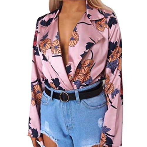 Challeng Et Sexy Femme Satin Imprim Wrap Femmes Jumpsuit Longue Over Body Chemise Chic Chemise Dames Femme Floral Femme Manche Soiree Chemise Rose Tuxedo Chic rrSFqT