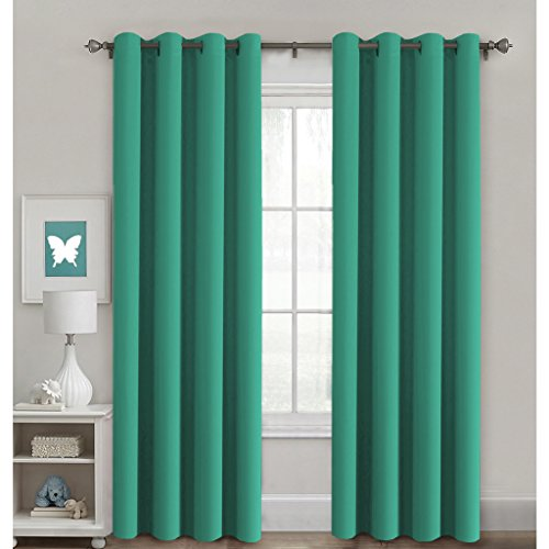 H.Versailtex Thermal Insulated Blackout Window Curtain Panels, Vinyl free Nursery / Baby Care Grommet Curtains Pair, 52 by 84 - Inch - Green - Glass Green Panel