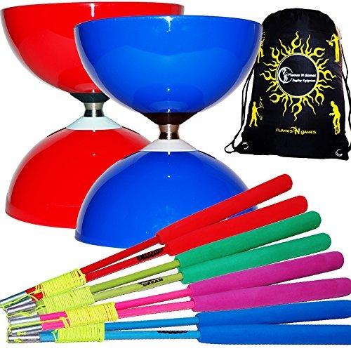 Large Juggle Ball - Juggle Dream Big Top Jumbo Ball Bearing Diabolo Set + Fiber Diabolo Handsticks (Many Colour Combos!) Diablo String + Travel Bag! (Blue / Pink Sticks)