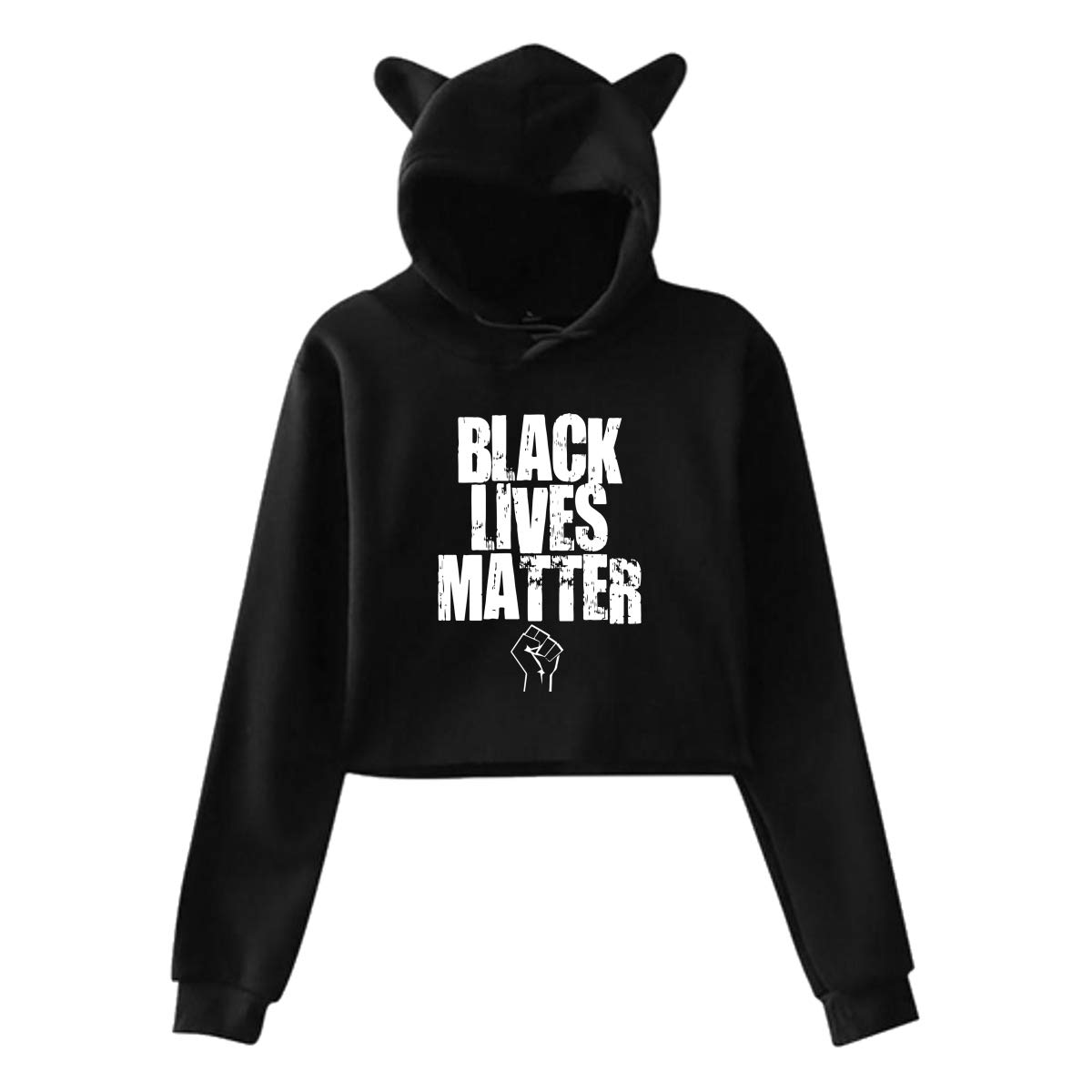 Womens Cat Ear Crop Top Pullover Hoodie Casual Black Lives Matter Long Sleeve Hooded Pullover S-XXL