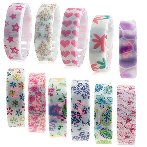 Jelly Band Adjustable - Padgene 11 Pieces Floral Wrist Watch - Silicone Rubber Gel Jelly Unisex Adjustable Bracelet, Digital Band