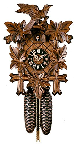 German Black Forest Cuckoo Clock with Five Leaf One Bird 13
