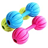 BECKY,2/3/5 Pcs Toy Dumbbell Dogs Dental Treat,Bite Resistant Indestructible Non-Toxic Strong Tooth Cleaning Toy for Pet Training/Playing/Chewing,Soft Rubber,Bouncy,Ball With Bell