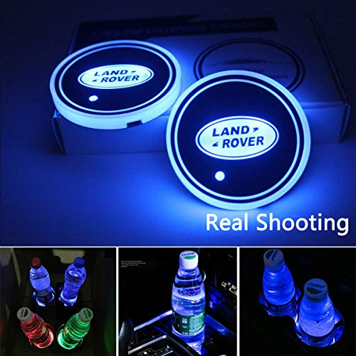 License plate frameX 2pcs LED Car Cup Holder Lights for Land Rover, 7 Colors Changing USB Charging Mat Luminescent Cup Pad, LED Interior Atmosphere Lamp (Land Rover)