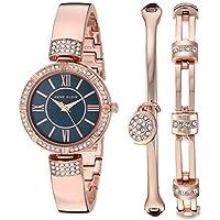Anne Klein Women's Swarovski Crystal Accented Watch & Bracelet Set (Rose Gold / Navy)