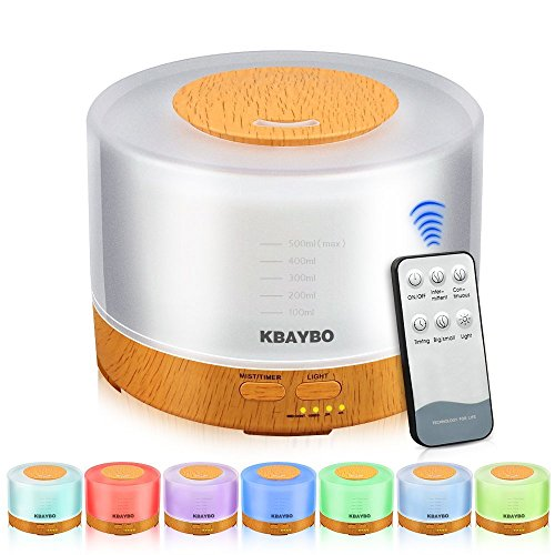 KBAYBO 500ml Cool Mist Humidifier Ultrasonic Aroma Essential Oil Diffuser with 4 Timer Settings 7 Color Changing LED for...