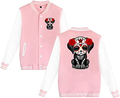 MEILOP Unisex Cute Red Day of The Dead Puppy Dog Baseball Jacket Uniform Sweater Coat
