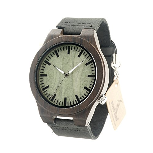 BOBO BIRD AM075 Men's Black Sandal Wood Asymmetric Design Bamboo Wooden Watches with Leather Band