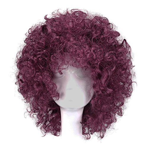 MapofBeauty 35cm Fashion Holiday Fluffy Funny Show Clown Wig (Wine Red) ()