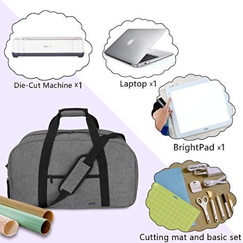 Luxja Carrying Bag for Cricut Machine, Laptop, Bright Pad, Cutting Mat and Other Accessories, Storage Bag Compatible with Cricut Explore Air (Air2) and Maker (Bag Only), Gray