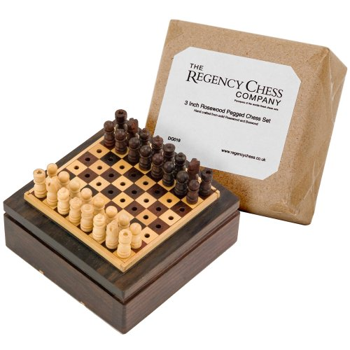 3 Inch Rosewood Pegged Mini Travel Chess Set