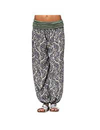 VEZAD Store Women Printed Loose Leg Casual Harem Pants Comfy Casual Palazzo Pants
