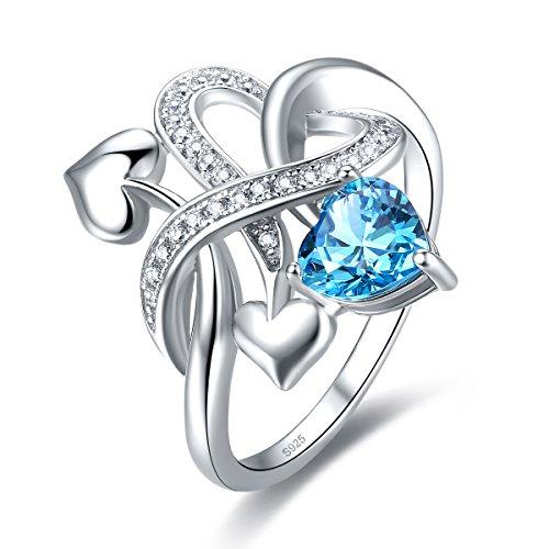 Jrose 925 Sterling Silver Created Blue Topaz Heart Enternity Ring for Women (Set Birthstone Topaz)