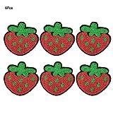 Parche de tela pegatina de costura 6 unids diy lentejuelas forma de fresa roja costura bordado ropa parches accesorios