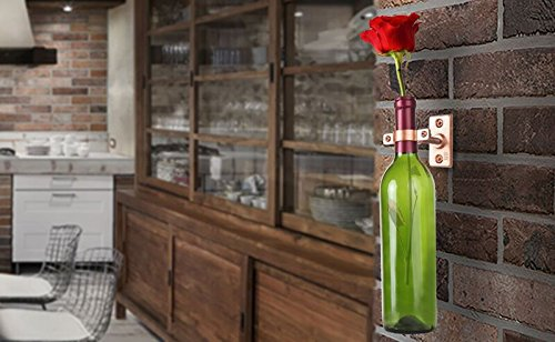 4-1//2 x 1-3//8 x 2-3//4 Copper Finish Industrial Design with Mounting Hardware Works with Wine or Liquor Bottles Lilys Home Bar Wall Mount Single Wine Bottle Display Holder