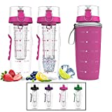 Bevgo Infuser Water Bottle – Large 32oz - Hydration Timeline Tracker – Detachable Ice Gel Ball With Flip Top Lid - Quit Sugar - Save Money - Multiple Colors with Recipe Gift Included (Pink)