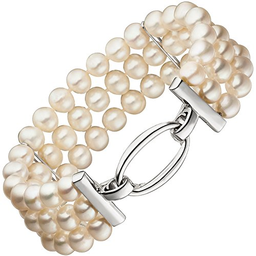 Jobo Bracelet 3rangées avec perles d'eau douce et 925Argent 20cm Bracelet de perles