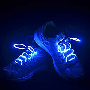 Flammi LED Shoelaces Light Up Shoe Laces with 3 Modes in 5 Colors Flash Lighting the Night for Party Hip-hop Dancing Cycling Hiking-type A (Blue)