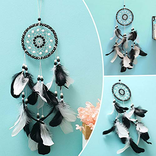 (Waldenn Black White Feather Dream Catcher Handmade Indian Wall Hanging Decoration Gifts | Model DCR - 2079)