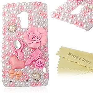 Mavis's Diary for HTC One Max T6 3D Handmade Pink Flower and Fashion Dress Up Accessory Bling Diamond Pearl White Case Cover with Soft Clean Cloth (Pink and White Pearl Case)