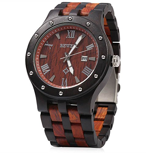 GBlife Bewell W109A Men Wooden Quartz Watch Round Dial Analog Handmade Wood Wristwatch (Ebony and Red)