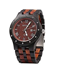 Bewell Men Wooden Quartz Watch Round Dial Analog Wristwatch-EBONY WITH RED SANDALWOOD