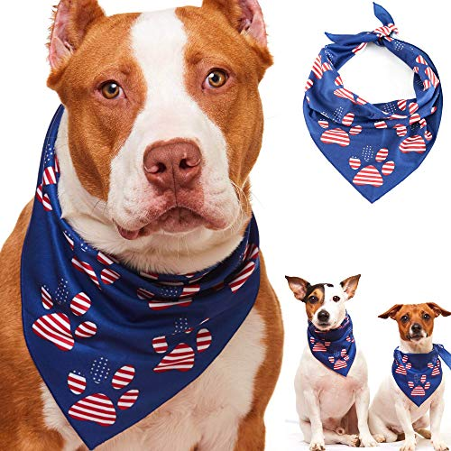 Odi Style American Flag Dog Bandana - Patriotic 4th of July Dog Bandana for Small, Medium, Large Dogs, US Flag Independence Day Dog Puppy Bandana for Dogs Puppies Cats with -