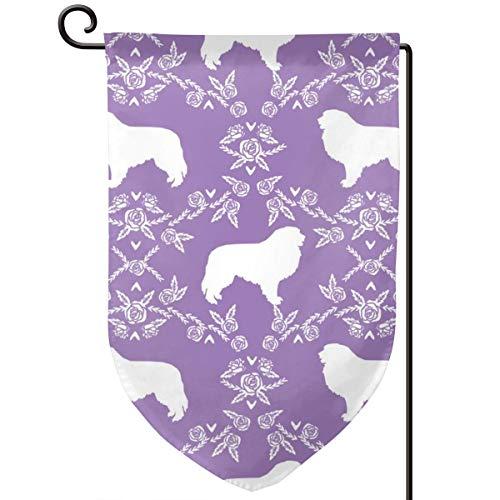 Homemen Garden Flag Summer,Great Pyrenees Silhouette Floral Dog Breed Fabric Purple_1396,12.5 x 18 ()