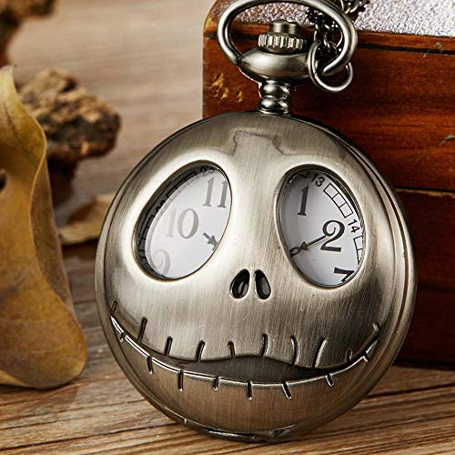 CHITOP Vintage Tim Burton The Nightmare Before Christmas Quartz Pocket Jack Skellington Bronze fob Chain Necklace Clock Men Women ()