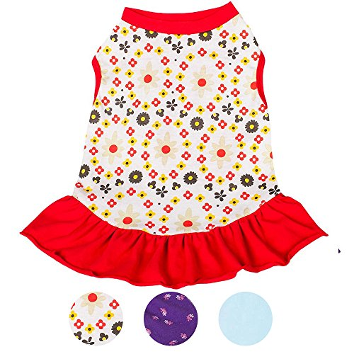 Blueberry Pet Red & Sunshine Yellow Floral Cotton Dog Dress, Back Length 10