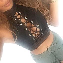 Duseedik Vest Hot Sale,Fashion Women V Neck Hollow Blouse Lace Sleeveless Tops T Shirt Vest Shirt Blouse Casual Beach Vest T-Shirt (Black, L)