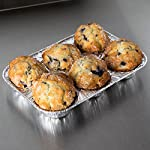 Pack of 20 Silver Foil Muffin Pans – Durable & Non-Stick Disposable Aluminum 6-Cup Cupcake Trays – Perfect Tin Size for Cupcakes, Mini Pies, Mini Quiche, Soufflé - Standard Size 8  STRONG AND DURABLE MUFFIN PANS - These aluminum muffins cups are extremely sturdy and durable. They will not bend out of shape or spill any cupcake batter like paper cupcake liners. The 6-cup trays support any type of batter and will not leak or spill when putting them in the oven. The large cupcake cups make perfectly shaped bakery style muffins.  NON STICK, EASY RELEASE YOUR CUPCAKES AND MUFFINS - The aluminum cupcake trays are smooth and easy to use. Simply pop the bottom up and the muffins or cupcakes will slide out quickly and easily. You can spray the bottom of the baking tin with some oil for even cleaner release of your muffins.  ENJOY NO MESS MUFFIN MAKING - Washing up silicon muffin pans can be too much bother, especially if you are catering for a large crowd or party. Made with ecofriendly aluminum you can simply throw the cupcake tin in the recycling bin or trash can once finished. No more standing for hours washing out cupcake cups.