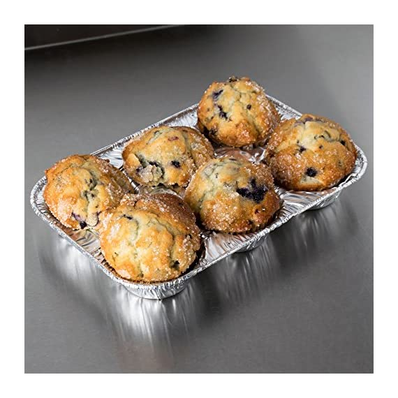 Pack of 20 Silver Foil Muffin Pans – Durable & Non-Stick Disposable Aluminum 6-Cup Cupcake Trays – Perfect Tin Size for Cupcakes, Mini Pies, Mini Quiche, Soufflé - Standard Size 4  STRONG AND DURABLE MUFFIN PANS - These aluminum muffins cups are extremely sturdy and durable. They will not bend out of shape or spill any cupcake batter like paper cupcake liners. The 6-cup trays support any type of batter and will not leak or spill when putting them in the oven. The large cupcake cups make perfectly shaped bakery style muffins.  NON STICK, EASY RELEASE YOUR CUPCAKES AND MUFFINS - The aluminum cupcake trays are smooth and easy to use. Simply pop the bottom up and the muffins or cupcakes will slide out quickly and easily. You can spray the bottom of the baking tin with some oil for even cleaner release of your muffins.  ENJOY NO MESS MUFFIN MAKING - Washing up silicon muffin pans can be too much bother, especially if you are catering for a large crowd or party. Made with ecofriendly aluminum you can simply throw the cupcake tin in the recycling bin or trash can once finished. No more standing for hours washing out cupcake cups.