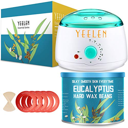 【Eucalyptus Essential Oil】Yeelen Wax Warmer Hair Removal Waxing Kit with 10.58oz Essential Oil Hard Wax Beans, 10 Wax Applicator Spatulas and 5 Wax Collars for Body, Face, Legs, Bikini Area