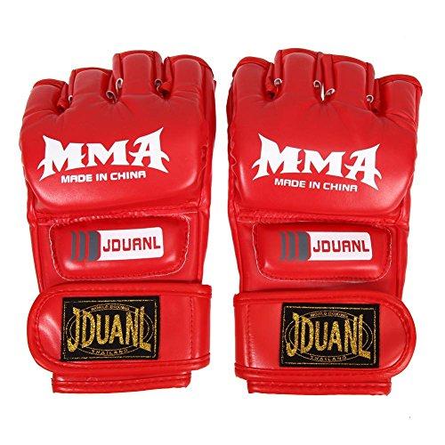 MMA Muay Thai Boxing Training Gloves Half Mitt (Red) by MKChung