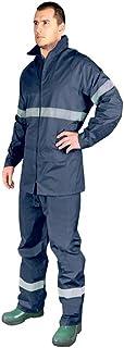 Tuta antipioggia catarifrangente, impermeabile, giacca e pantaloni, set da uomo alta visibilità, colore: blu navy XXL Reis
