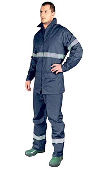 buying new numerous in variety shop for best NAVY Hi Vis Rain Suit New Waterproof Jacket Trousers Set Mens Rain Coat Hi  Visibility (Large)