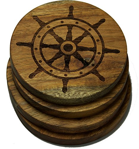 Ship Steering Wheel Nautical Drink Coasters (Multiple Designs) - Engraved Acacia Wood Design - Set of Four
