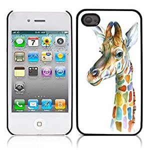 Cute Giraffe Animal Hard Plastic and Aluminum Back Case for Apple iphone 4 4S