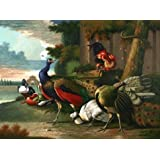 Canvas Prints Of Oil Painting ' Peacocks And Poultries ' , 12 x 16 inch / 30 x 41 cm , High Quality Polyster Canvas Is For Gifts And Bath Room, Home Office And Powder Room Decoration, prints on