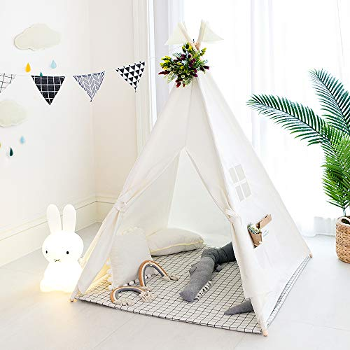 Tree Bud Kids Teepee Tent, Classic Indian Play Tent for Child, Foldable Playhouse for Indoor or Outdoor Play, Cotton Canvas Children Tents for Girl and Boy with Carry Bag (White)