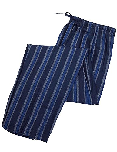 Striped Pants Pajama Flannel (Private Label - Mens Big Striped Flannel Lounge Pant, Navy 35496-XXX-Large)