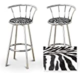 2 Zebra Animal Print Specialty / Custom Chrome Barstools with Backrest Set