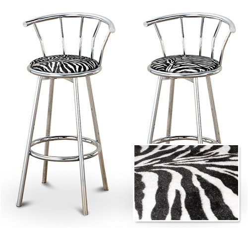 2 Zebra Animal Print Specialty / Custom Chrome Barstools with Backrest Set by The Furniture Cove